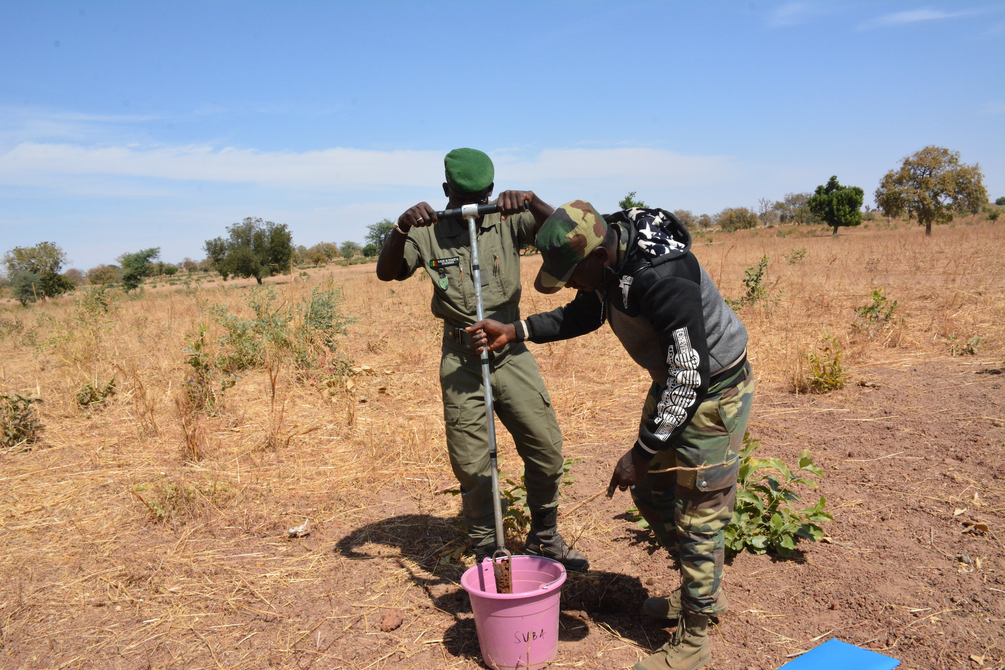 Forest Department officials taking soil samples to analyse land degradation indicators in Fatick Region, Senegal. Photo: World Agroforestry/ Gilberte Koffi